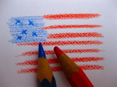 Pencils drawing the Stars and stripes photo