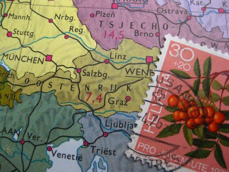 Austrian stamp on vintage map photo