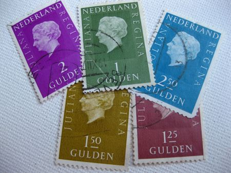 varied: Old Dutch stamps with Queen Juliana Editorial