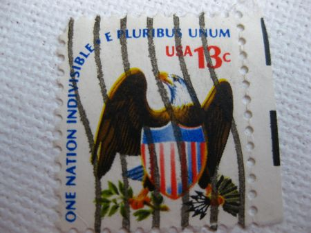 Vintage one nation indivisible e pluribus unum stamp 13 cent stamp Stock Photo - 3665695