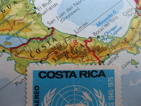 postage stamp: Vintage Costa Rica map with stamp