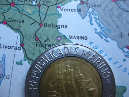 lira: Coin on vintage map: 500 Lire from San Marino