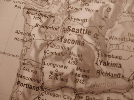 Vintage sepia map: Seattle