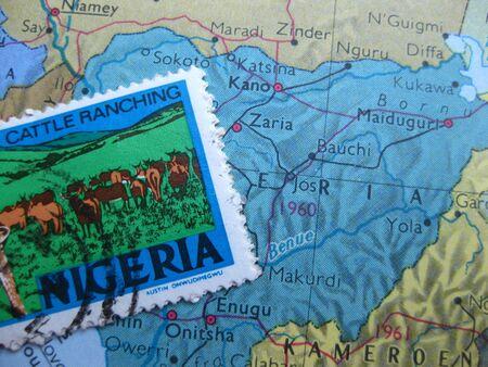 nigeria: Stamp on Vintage map: Nigeria
