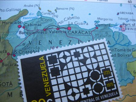mapa de venezuela: Sello de cosecha en el mapa: Venezuela Foto de archivo