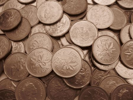 cents: Canadian cents in sepia