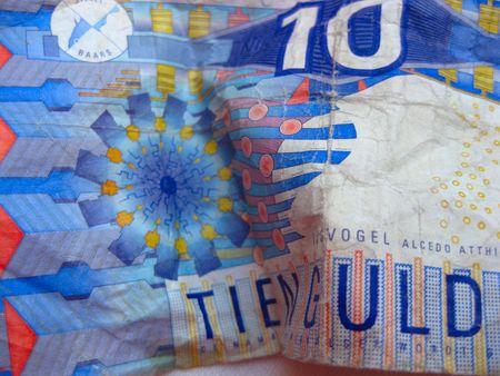 money laundry, ten guilder bill after ride in washing machine