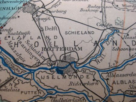 Vintage Map Of 1929 Rotterdam Delft The Netherlands Stock Photo