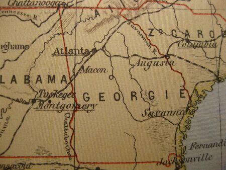 atlanta tourism: Vintage map of 1929: Georgia, Peach state