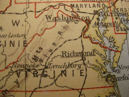dominion: Vintage map of 1929: Virginia, Old Dominion State