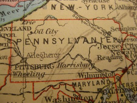 keystone: Vintage map of 1929: Pennsylvania, Keystone state Stock Photo