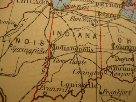 Vintage map of 1929: Indiana, Hosier State