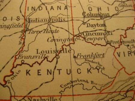 kentucky: Vintage map of 1929: Kentucky, bluegrass state
