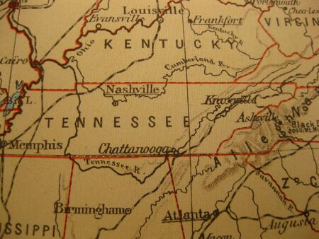 tennessee: Vintage map of 1929: Tennessee, Volunteer state