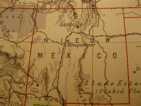 road position: Vintage map of 1929: New Mexico, land of enchantment
