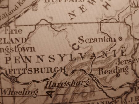 keystone: Vintage map of 1929 in sepia: Pennsylvania, Keystone state Stock Photo