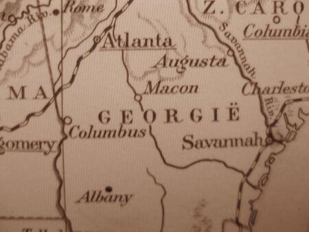 atlanta tourism: Vintage map of 1929 in sepia: Georgia, Peach state