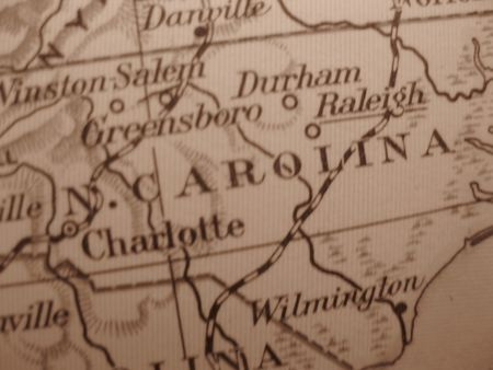 Vintage map of 1929 in sepia: North Carolina, Old North State photo
