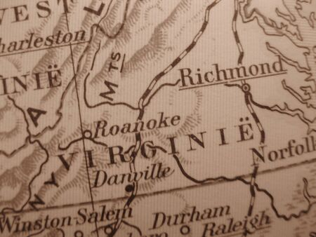 dominion: Vintage map of 1929 in sepia: Virginia, the old dominion