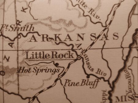 Vintage map of 1929 in sepia: Arkansas, natural state