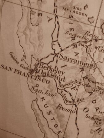 Vintage map of 1929 in sepia: California the Golden State photo