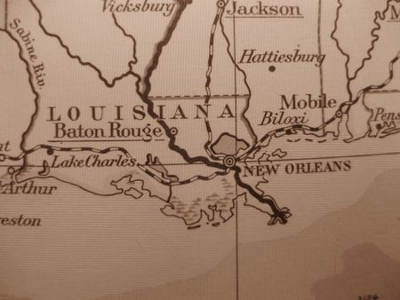 louisiana state: Vintage map of 1929 in sepia: Louisiana Pelican state Stock Photo