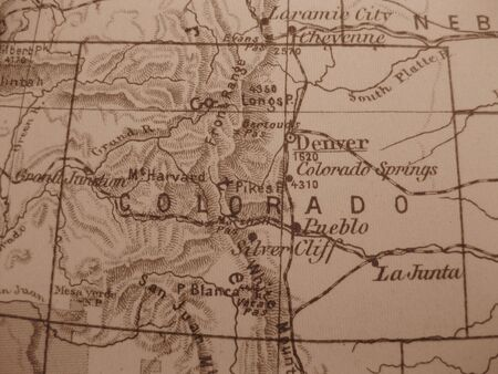 Vintage map of 1929 in sepia: Colorado, Centennial State