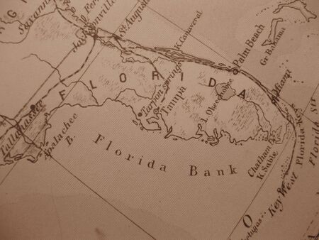 Tallahassee: Vintage map of 1929 in sepia: Florida, Sunshine Stock Photo