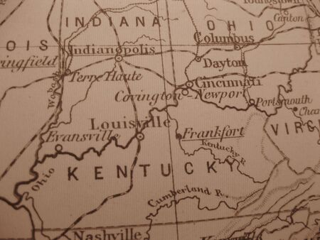 Vintage map of 1929 in sepia: Kentucky, Blue grass state Stock Photo