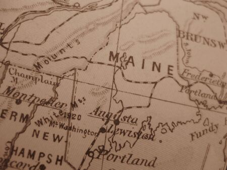 Vintage map of 1929 in sepia: Maine, pine tree state photo