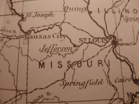 Vintage map of 1929 in sepia: Missouri, Show me state photo