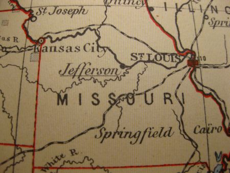 Vintage Map Of 1929: Missouri, Show Me State Stock Photo, Picture ...