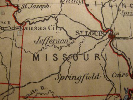 missouri: Vintage map of 1929: Missouri, show me state