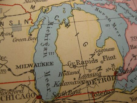 great lakes: Vintage map of 1929: mitchigan, great lakes state