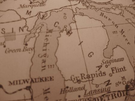 great lakes: Vintage map of 1929 in sepia: Michigan, great lakes state Stock Photo