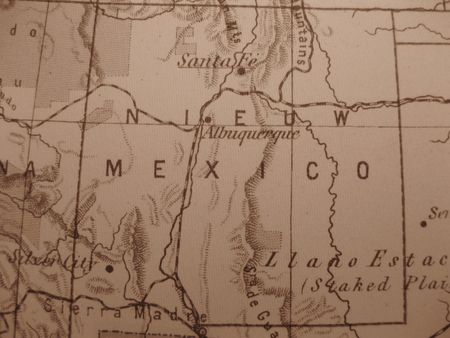 enchantment: Vintage map of 1929 in sepia: New Mexico, land of Enchantment Stock Photo