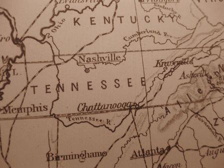 tennesse: Mapa de cosecha de 1929 en sepia: Tennessee, de Voluntarios de Estado