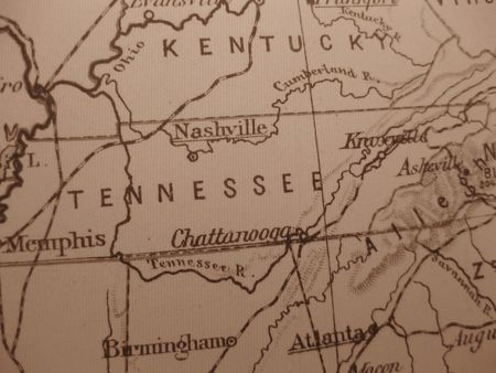 tennessee: Vintage map of 1929 in sepia: Tennessee, Volunteer State