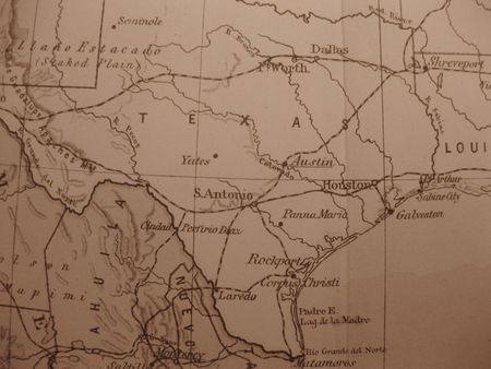 star path: Vintage map of 1929 in sepia: Texas, the lone star state