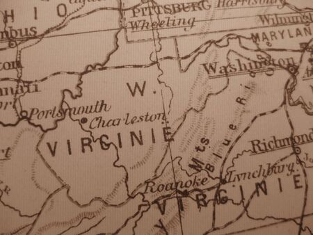 Vintage map of 1929 in sepia: West Virginia, mountain state photo