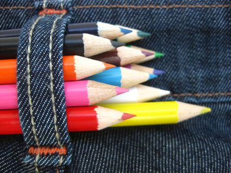 blue  jeans: pencils in a blue jeans pocket Stock Photo