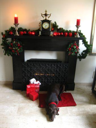 A Christmas fireplace Stock Photo - 3853721