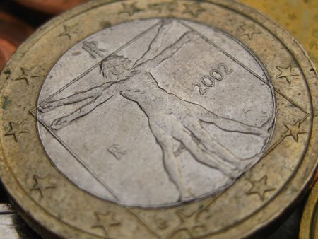 coins in close up: 1 euro coin uomo universale from Italy