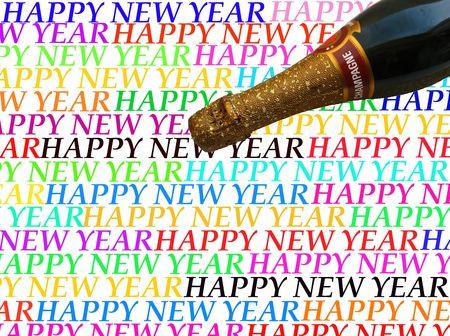 champagne Happy New Year card  photo