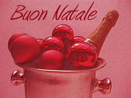 buon natale christmas card with champagne photo