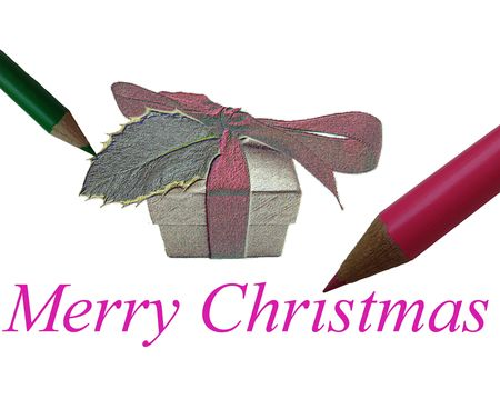 Christmas card with gift from Santa (digital drawingartist impression) photo