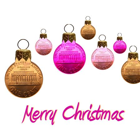 merry christmas card coin ornaments Stock Photo - 3923367