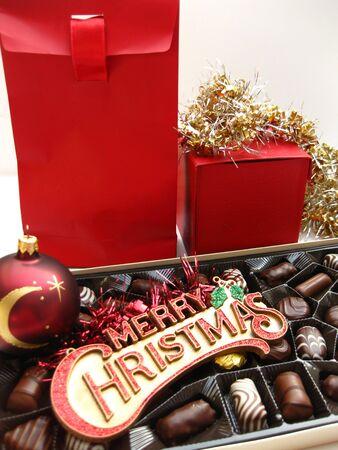 Christmas gift and chocolates photo