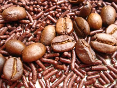 coffee beans on chocolate sprinkles Stock Photo - 3996276