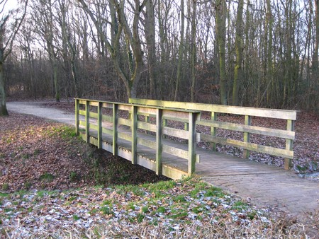 icey: Winter in Holland: bridge over frozen water Stock Photo